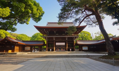 We enter the Kaguraden of Meiji Jingu Shrine, a hall for Shinto music and dance, join the ceremony to pray for your safe trip